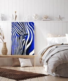 Peinture intérieure de chambre zèbre bleu dit Camaïeu