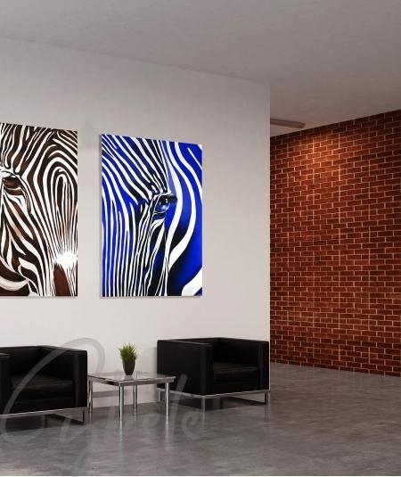 Décoration intérieure de bureau zèbre bleu