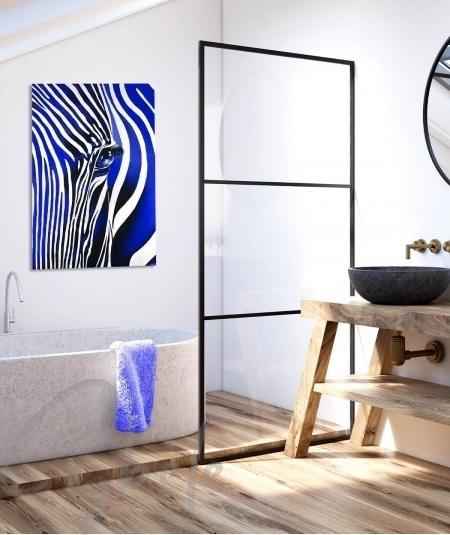 Toile intérieure de salle de bain zèbre bleu