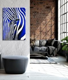 Décoration intérieure de salon zèbre bleu