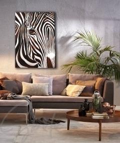 Peinture intérieure de salon zèbre marron dit Solitaire