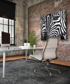 Décoration intérieure de bureau têtes de zèbre dit Duo