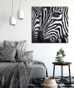 Peinture animalière intérieures pour boudoir têtes de zèbres