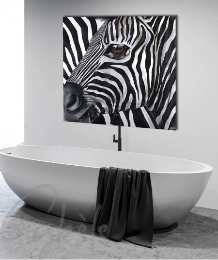 Peinture pour salle de bain tête de zèbre