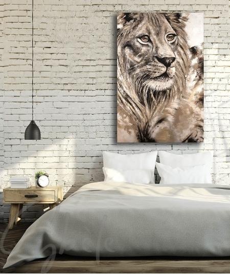 Toile intérieure pour chambre tête de lion
