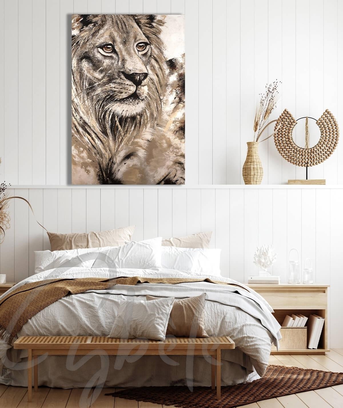 Décoration intérieure pour chambre tête de lion dit Plénitude