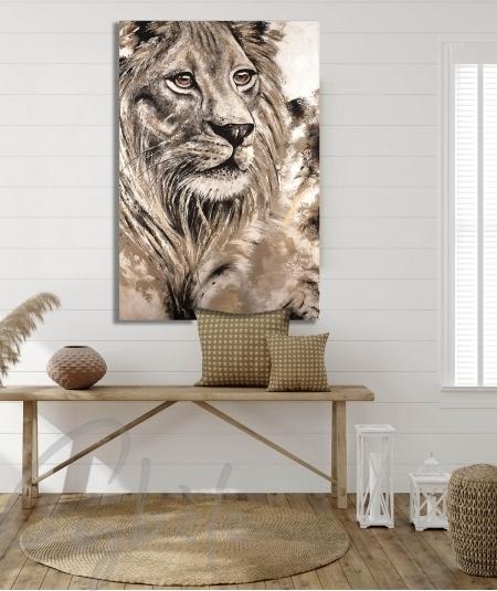 Reproduction animalière pour entrée tête de lion
