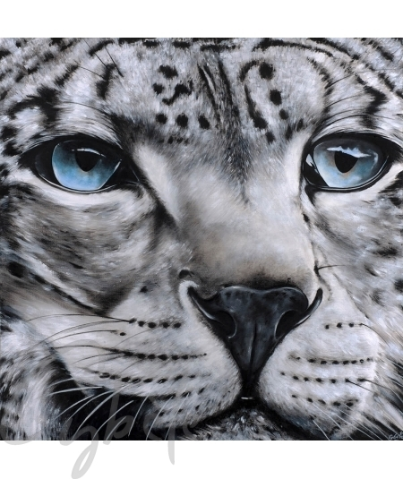 Toile décorative animalière tête de panthère dit Blue Intense