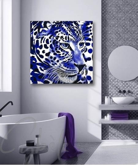 Décoration intérieure pour salle de bain tête de panthère bleue