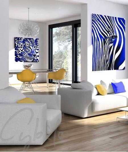 Peinture animalière pour salon tête de panthère bleue