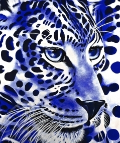 Reproduction animalière tête de panthère bleue dit Blue Touch