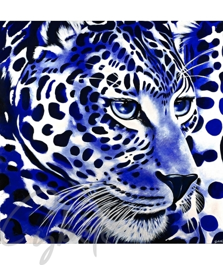 Peinture animalière tête de panthère bleue