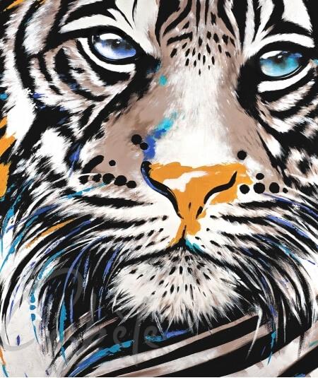 Reproduction animalière tête de tigre