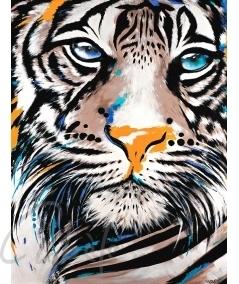 Peinture animalière intérieure tête de tigre