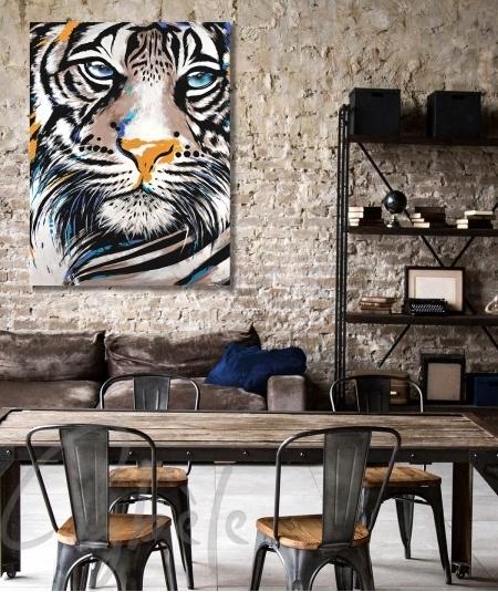 Décoration intérieure de salon tête de tigre dit Muzo