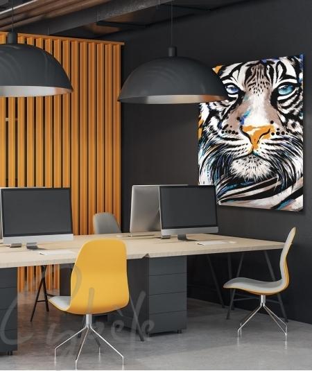 Toile animalière pour bureau tête de tigre dit Muzo