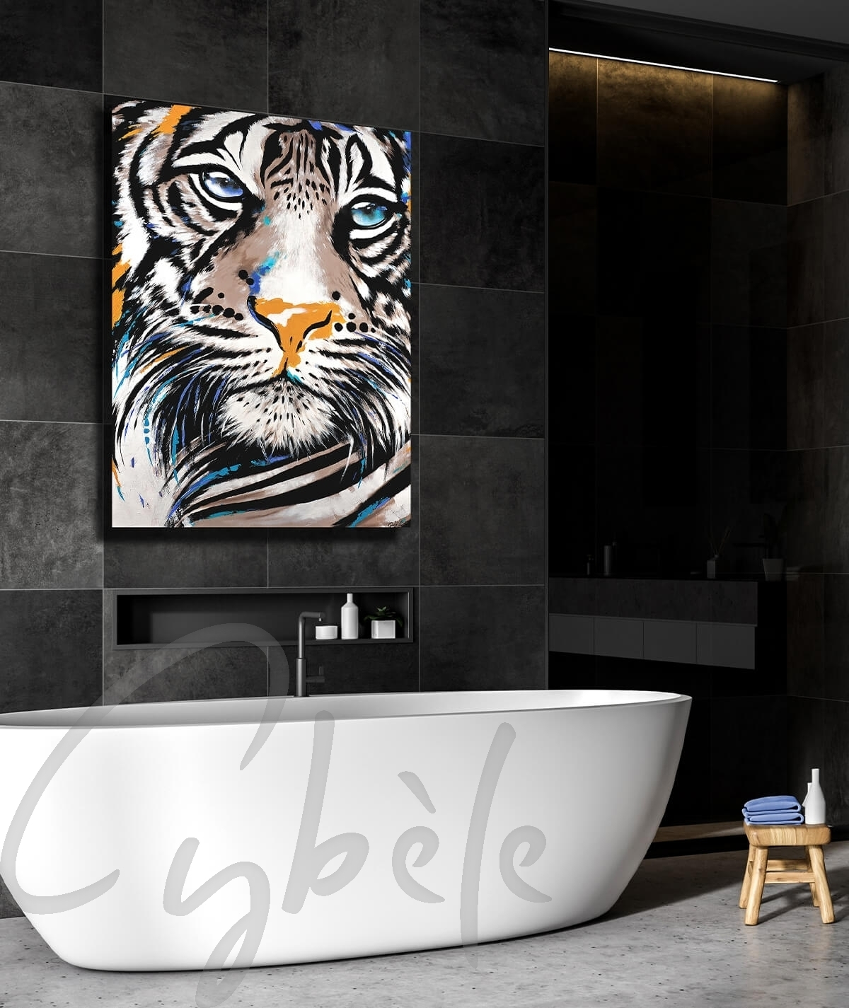 Décoration intérieure pour salle d'eau tête de tigre