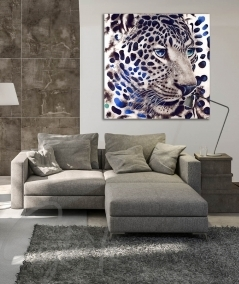 Peinture animalière intérieure de salon tête de panthère
