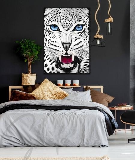 Peinture décorative pour chambre tête de panthère