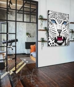 Peinture animalière intérieure pour entrée tête de panthère