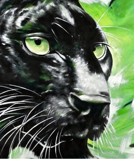 Peinture décorative panthère noire