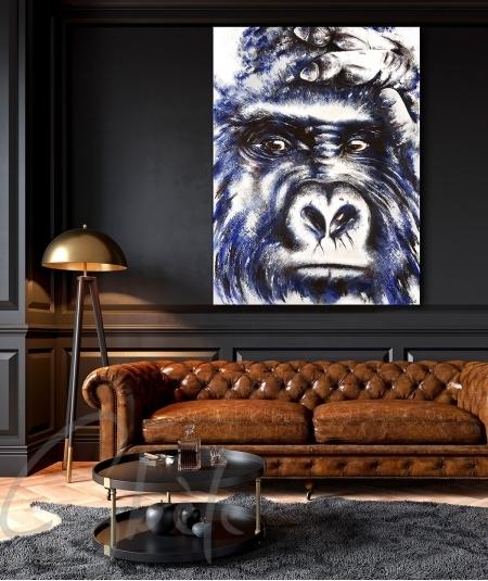 Peinture décorative salon tête de gorille dit Vigilant