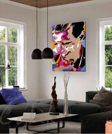 Décoration intérieure salon autoportrait fait par l artiste Cybèle