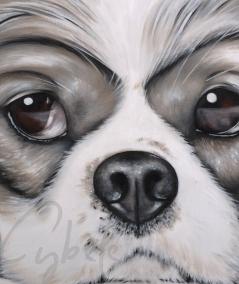 Peinture décorative animalière tête de chien