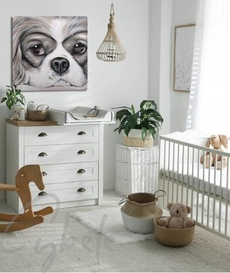 Peinture animalière intérieure chambre tête de chien