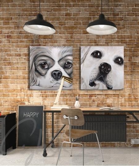 Représentation animalière intérieure bureau tête de chien dit Caprice