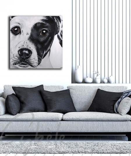 Peinture décorative de salon tête de chien dit Malice