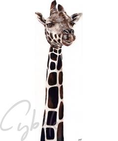 Toile animalière girafe