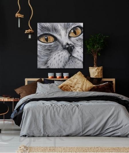 Reproduction animalière chambre tête de chat