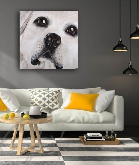 Décoration intérieure salon tête de chien dit Tendresse