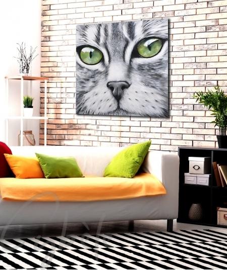 Peinture décorative bureau tête de chat qui vous regarde