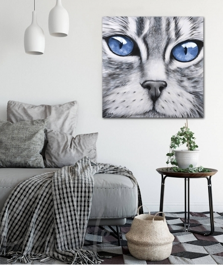 Décoration intérieure tête de chat yeux bleus