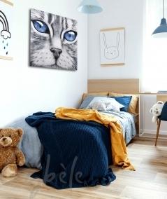 Peinture décorative intérieure chambre tête de chat yeux bleus dit Azur
