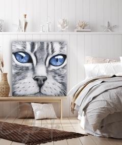 Toile animalière intérieure chambre tête de chat yeux bleus