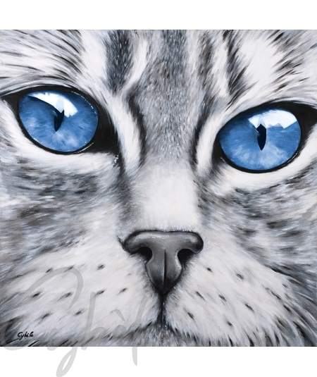 Œuvre animalière tête de chat yeux bleus