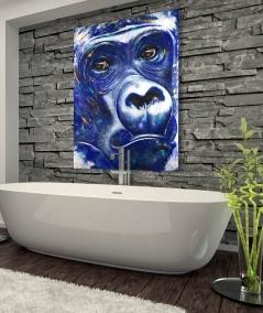 Décoration intérieure salle d'eau tête de gorille bleu
