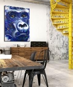 Peinture décorative intérieure bureau tête de gorille bleu dit Blue Gorilla