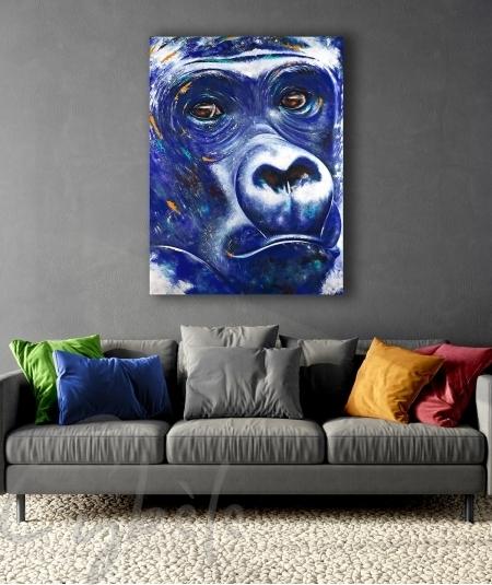 Œuvre animalière salon tête de gorille bleu