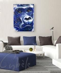Peinture intérieure salon tête de gorille bleu