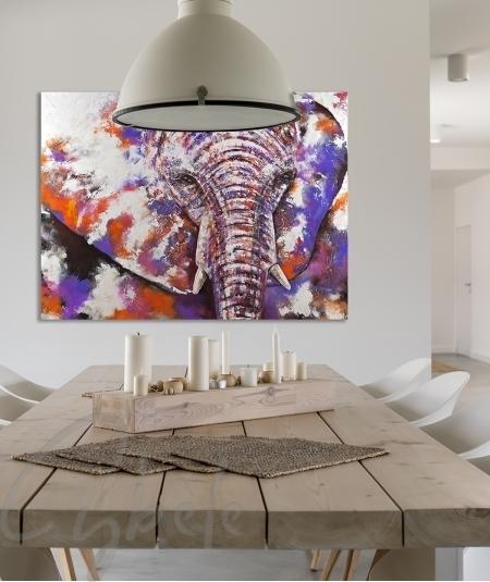 Décoration intérieure salle à manger éléphant dit Indy