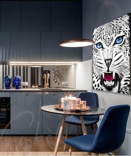 Peinture animalière intérieure pour cuisine tête de panthère