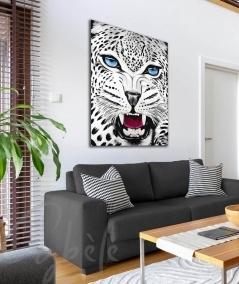 Peinture animalière intérieure pour studio tête de panthère