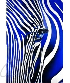 Tableau de décoration intérieure zèbre bleu dit Camaïeu