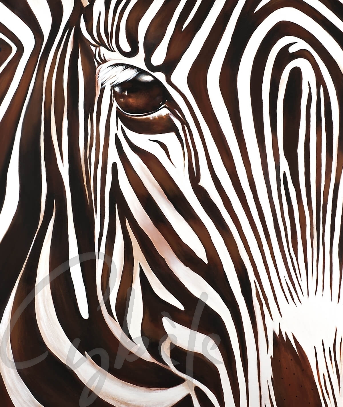 Peinture animalière zèbre marron