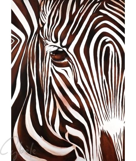 Reproduction animalière zèbre marron dit Solitaire