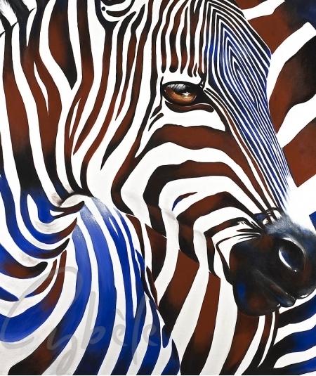 Peinture animalière zèbre tricolore